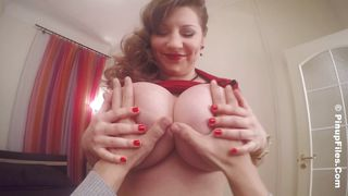 hot pinup girl shows her huge boobs