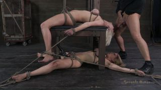 two sluts tied to the table and fucked