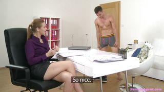 female agent makes him lick her twat