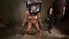 asian slave gets a box on her head