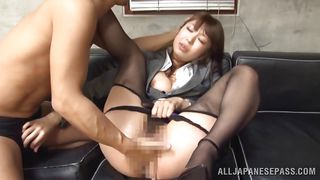 japanese chick enjoying a huge dick.