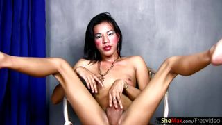 Alluring doll with balls masturbates long shecock and jizzes the amusing