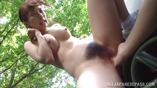 horny asian sucking dick in car