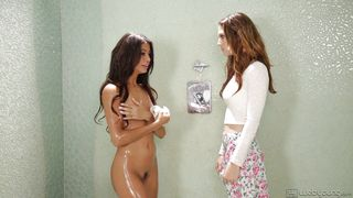 hot lesbian caresses under the shower @ blind love