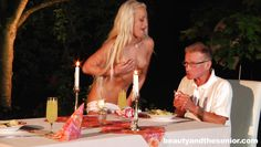 slutty blonde bimbo entertains an old man