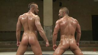 oiled wrestlers fight and fuck hard