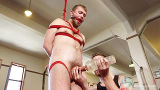 bound slave is jacked off