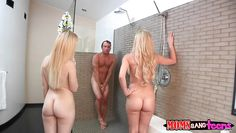 mom and daughter catch him in the shower