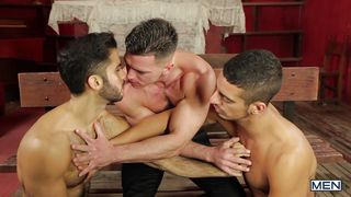three horny british men making love