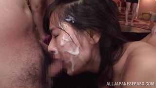 asian babe dominated and facialized