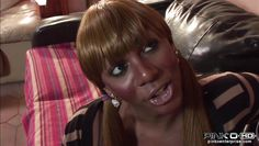 ebony t-girl uses her tits in a right way