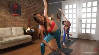 hot shemale does erotic yoga