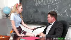 slutty schoolgirl welcomes teacher