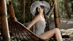 elegant beauty poses in the hammock