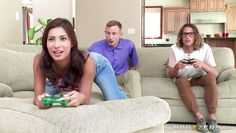 gamer girl give blowjob to two nerd boys