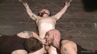 bounded guy gets used by two horny men