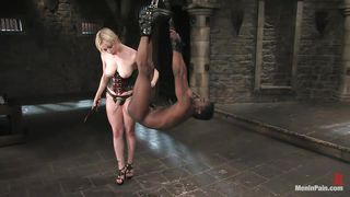 black slave is hung from the ceiling and ass fucked