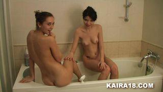 horny lesbians in the bath