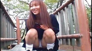 schoolgirl shows her panties