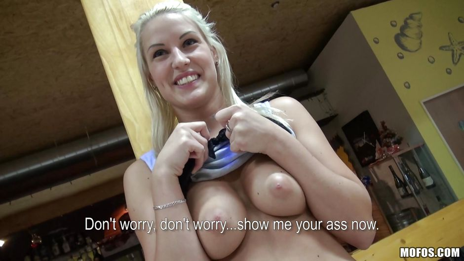 Public pickups gorgeous blonde bartender paid for sex