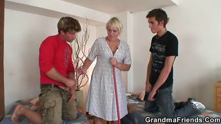 granny mops around and then jerks cock