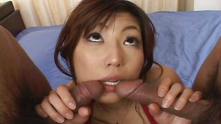 asian milf entertains two cocks