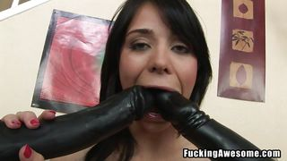 dirty slut plays with big black dildos
