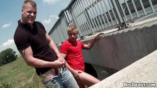 blonde gay males get dirty outdoors