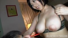 busty japanese lady blows a horny guy