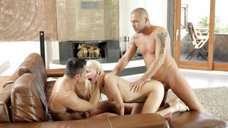 two big guys fuck a fragile beautiful blonde