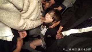 schoolgirl gets mouth fucked in a bus