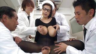 nylon covered asian nurse