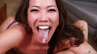 sexy asian slut gets throated