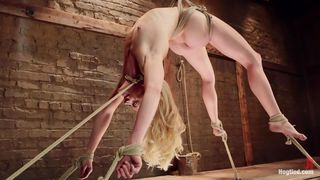 flexible blonde get's her cunt exploited