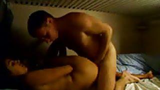 latin couple fucks in dorm bed