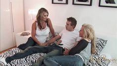 two blondes fuck one guy