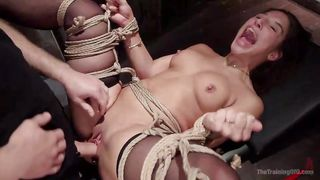 abella screams with delight all tied up