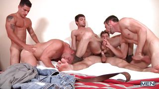 group of horny gays having fun