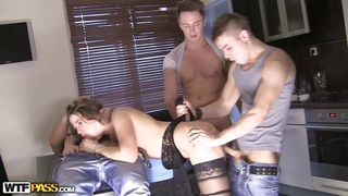 stephany fucked hard by three cocks