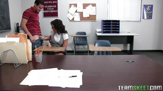 naughty brunette student gets punished