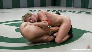 tight match of lesbian wrestling