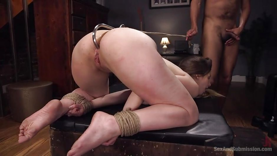 Hot blonde gets bounded and ball gag placed in her mouth 8