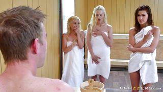 girls love sex during sauna bath