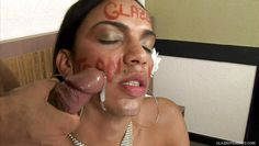 tranny cum slut gets face full of jizz