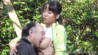 sweet nippon teen gives head to an old man
