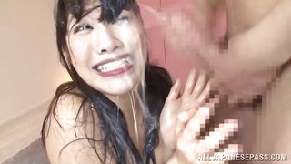 japanese beauty gets drenched by a facial