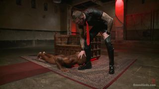 hunk in leather pants mouth fucks his ebony slave