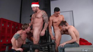 sexy gay boys have a christmas feast