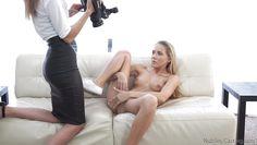 blonde slut shows her pussy