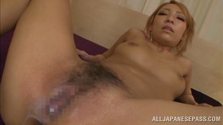 blonde japanese babe gets cum inside her pussy